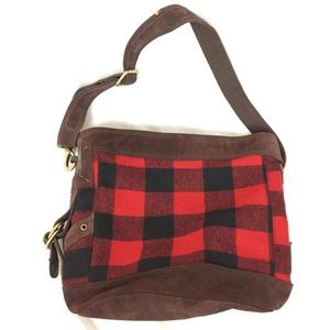 Lucky Brand Buffalo Plaid Suede Hobo Bag